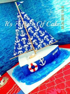 Carved from 2 1/2 sheet cakes, sailboat cake with buttercream icing (top white is fondant to cover my over spray from my airbrush;) https://www.facebook.com/ItsAPieceofCakeWV?ref=ts&fref=ts