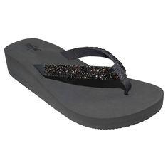 Women's Lanette Rhinestone Detail Wedge Flip Flop Sandals Mossimo Black - Grey 11