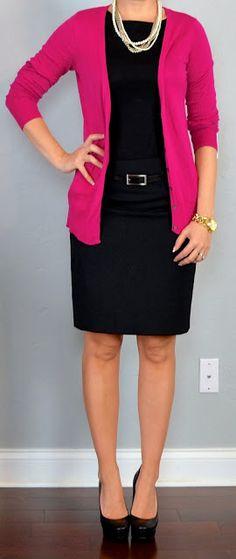 work outfit: pink cardigan, black blouse, black pencil skirt