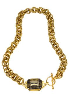 This beautiful, bold John Wind glass gem necklace is truly eye candy. Large gold anchored chains drape around the neck and connect at the faceted glass gem surrounded by a Victorian design. Latched by the toggle clasp, this necklace is glamorous with an antique splash. Toggle clasp.   Black Gem Necklace by John Wind Maximal Art. Accessories - Jewelry - Necklaces Pennsylvania