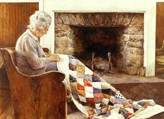 The Quilter is a limited edition offset lithograph of a watercolor by David Armstrong. Image size is x 25 Printed on acid free cotton rag paper. Norman Rockwell, Inktober, David Armstrong, Sewing Art, Sewing Tips, Black Art, Art Pictures, Quilt Pictures, Female Art