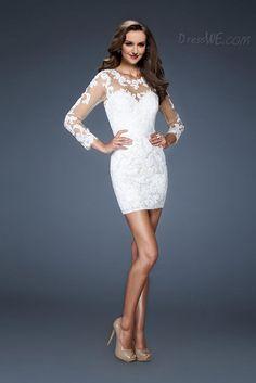 Dresswe.comサプライ品ファンシーシース7分丈袖スクープはショートカクテルドレスをアップリケ イブニングドレス2014