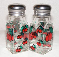 Hand painted glass salt and pepper shakers, cherries, one pair. $15.00, via Etsy.