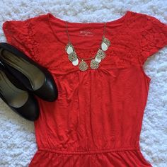 Red boho peplum shirt NWOT This is a comfy peplum shirt that is great for the warm days ahead. It has lace accent across the shoulders and an elastic waist. Merona Tops Blouses