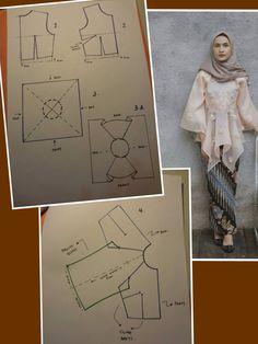 Patrern baju Model Kebaya Modern, Kebaya Modern Dress, Kebaya Dress, Kebaya Brokat, Frock Patterns, Dress Sewing Patterns, Blouse Patterns, Clothing Patterns, Batik Fashion