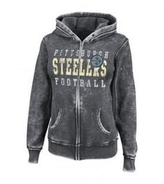 Pittsburgh Steelers NFL Women's Princess Full-Zip Hooded Gray Sweatshirt | Steel City Collectibles