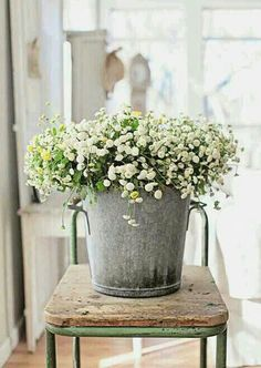 love this zinc bucket filled with flowers - so charming!