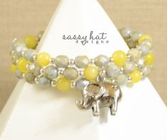 Pale Green, Yellow and Sterling Silver Memory Wire Wrap Bracelet with Antique Silver Elephant Charm by SassyHatCF on Etsy