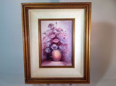 Vintage Oil Painting Flowers for Remembrance by Ann Marie in Wood Frame #Impressionism