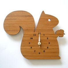 Who wouldn't love a squirrel clock?  Also comes in hedgehog, owl, and Bambi. Courtesy of decoylab via Etsy.