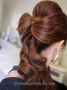 Updo in the front and a bow hairstyle in the back with the rest of the hair flowing down Down Hairstyles, Pretty Hairstyles, Wedding Hairstyles, Perfect Hairstyle, Bridal Hairstyle, Celebrity Hairstyles, Easy Hairstyles, Updo, Bow Hairstyle Tutorial