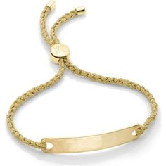 Monica Vinader Havana 18ct gold-plated friendship bracelet ($105) ❤ liked on Polyvore featuring jewelry, bracelets, gold gold metallica, letter jewelry, adjustable bangle, friendship bracelet, gold plated bangles and engraved jewelry
