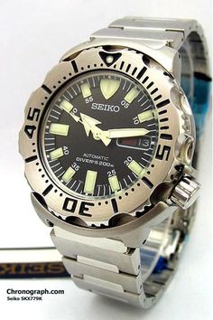 Seiko Men' s Watches : Black Monster Professional Automatic Diver at www. Best Watches For Men, Big Watches, Amazing Watches, Sport Watches, Luxury Watches, Cool Watches, Wrist Watches, Seiko Diver, Seiko Skx