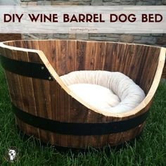 DIY Ideas With Old Barrels - Wine Barrel Dog Bed - Rustic Farmhouse Decor Tutorials and Projects Made With a Barrel - Easy Vintage Home Decor for Kitchen, Living Room and Bathroom - Creative Country Crafts, Dog Beds, Seating, Furniture, Patio Decor and Rustic Wall Art and Accessories to Make and Sell tp://diyjoy.com/diy-projects-old-barrels