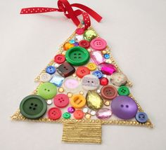 crafty christmas ornament with rhinestones and buttons by Charlotte's Fancy