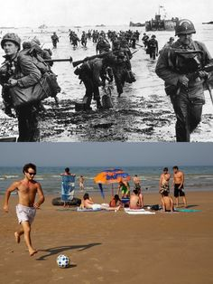 D-Day photos from 1944 and photos of vacationers at the exact same locations today. Normandy then and now. D Day Photos, Then And Now Photos, Ww2 Photos, Best Vacation Destinations, Best Vacations, Vacation Spots, World History, World War Ii, Study History
