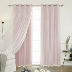 Best Home Fashion 4-Piece Gathered Tulle Sheer and Blackout Silver Grommet Curtain Panel Set | Jet.com