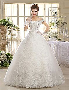 Ball Gown Off-the-shoulder Floor-length Lace Wedding Dress – USD $ 89.99