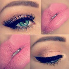 Peach Eye Makeup - Pink Lips