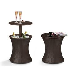Keter Pacific Cool Bar Brown Wicker Rattan Outdoor Patio Deck Pool Ice Cooler Table Furniture - Free Shipping Today - Overstock.com - 18928784 - Mobile