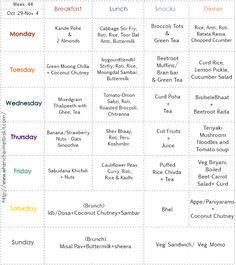 Week 44 – Weekly Menu Planner by Jui of 'When Chai Met Biskit' Indian Food Menu, Indian Food Recipes, Indian Meal, Indian Diet, Healthy Weekly Meal Plan, Vegan Meal Plans, Vegetarian Cooking, Vacation Meal Planning, Loose Weight Meal Plan