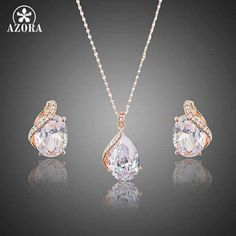 Clear CZ Water Drop Stud Earrings and Pendant Necklace Sets