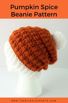 Beginner Crochet Beanie Pattern Pumpkin Spice Beanie Easy Double Crochet Beanie Pattern Beginner Crochet Beanie Pattern Lolly Poms Easy Ribbed Crochet Beanie One Dog Woof. Fall Crochet Hats, Crochet Pumpkin Hat, Crochet Adult Hat, Crochet Scarves, Crocheted Hats, Halloween Crochet Hats, Free Crochet, Ribbed Crochet, Double Crochet Beanie Pattern