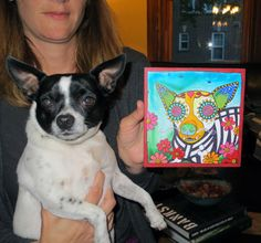 Buddy the Chihuahua and his RobiniArt portrait, #design, #dogs, #art, #terrier, Day of the Dead, Dia de los Muertos, Sugar Skull, Pet Portraits, Dog Art. www.robiniart.com, www.facebook.com/...