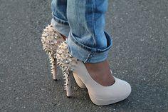 White studded high heels
