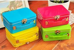Candy color suitcase tin box storage box gift box zakka dressing ultralarge-inStorage Boxes & Bins from Home & Garden on Aliexpress.com