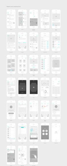 Kitchenware Pro - iOS Wireframe Kit by Neway Lau on Creative Market Web And App Design, App Ui Design, Mobile App Design, Mobile Ui, Design Design, Dashboard Design, Graphic Design, App Wireframe, Wireframe Design