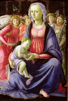 Sandro Botticelli (Italian artist, 1445-1510) Virgin & Child with 5 Angels