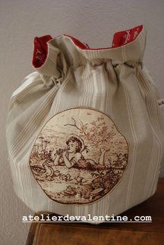use antique homespun or towel; antique toile centerpiece; inside vintage barkcloth