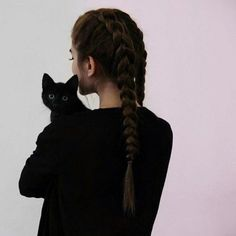 aesthetic / girl / black cat / animals / braided hair / long hair / pink background / black shirt / pale | @losiiva