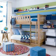 Bright Little Boy's Room ~ Blues and greens combine to make a striking feature wall and are a good foil for warm, wood furniture and natural flooring. Cheerful motifs on the window treatment add to the sense of fun and create a welcoming look for boys aged 4 to 8 years.