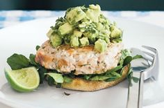 Salmon burgers with avocado salsa-all sorts of healthy oils (I think I would put it on a nice toasted whole grain roll or bun)