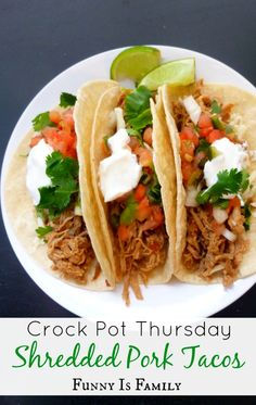 """The shredded meat for these Crockpot Pork Tacos is also excellent on salads, nachos, and with rice! If you're looking for quick, easy, and versatile dinner recipes, this is for you!"""