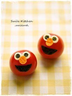 mini tomato elmo - bento idea