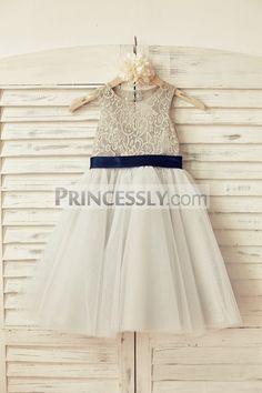 Princessly.com-K1000130-Navy Blue Lace Tulle Flower Girl Dress Keyhole Back with Blush Pink Bow Belt-31