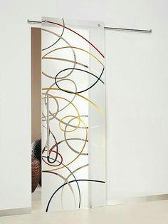 Frosted Glass Door, Sliding Glass Door, Sliding Doors, Porte Design, Door Design, Contemporary Doors, Sandblasted Glass, Cool Doors, Glass Partition