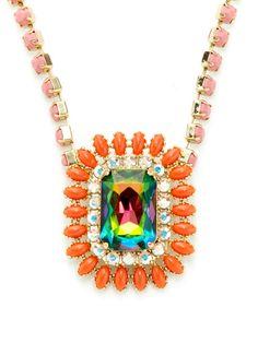 Rodrigo Otazu Green Rainbow Crystal Pendant Necklace