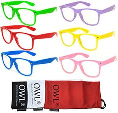 15c749d396 Retro 80s Vintage Clear Lens Sunglasses Colored Frame 6 Pairs for Every Day  OWL -- Visit the image link more details. Note It is affiliate link to  Amazon.