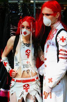 Bizarre Red & White Hospital Nightmare Fashion Mistake