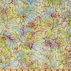 Moda Kapalua Batiks Abstract Leaves Leaf Green
