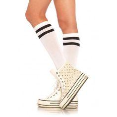 BÍLÉ SPORTOVNÍ STYLOVÉ PODKOLENKY S ČERNÝMI PROUŽKY LEG AVENUE Úžasné  dámské podkolenky v atletickém sportovním stylu 4b44412b96