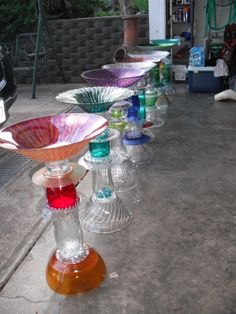 Repurposed Glass Birdbaths