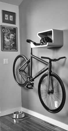 SHELFIE- home is where you hang your bike. Cool invention on Kickstarter! SHELFIE- home is where you hang your bike. Cool invention on Kickstarter! Bicycle Storage, Bicycle Rack, Wall Bike Rack, Home Bike Rack, Indoor Bike Rack, Bicycle Safety, Road Bikes, Cycling Bikes, Cycling Art