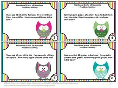 Fractions: You will receive 30 problem solving task cards requiring students to find the fractional parts of numbers. You will also receive a student response form and answer key.