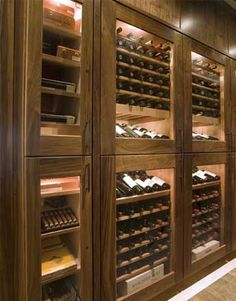 While a wine cabinet, inspiration for merging Cigar displays in parallel with the wine