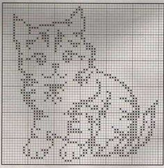 Cute kitty pattern for filet crochet or maybe double knitting. Cute kitty pattern for filet crochet or maybe double knitting. Cross Stitch Charts, Cross Stitch Designs, Cross Stitch Patterns, Knitting Charts, Knitting Patterns, Cross Stitching, Cross Stitch Embroidery, Crochet Minecraft, Chat Crochet